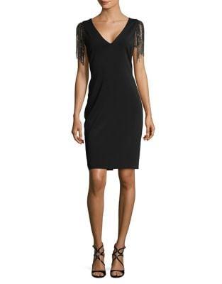 Beaded Fringe Sleeve Sheath Dress by Badgley Mischka Platinum
