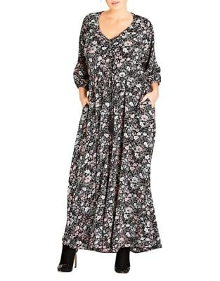 Plus Etched Floral Maxi Dress by City Chic