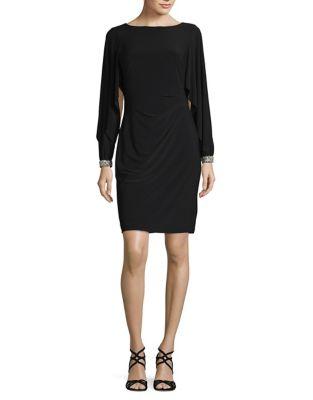 Jersey Flutter-Sleeve Sheath Dress by Lauren Ralph Lauren