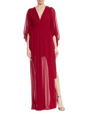 Plissed Ruffled Gown by Halston Heritage
