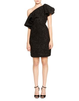 Metallic Knit One Shoulder Dress by Halston Heritage