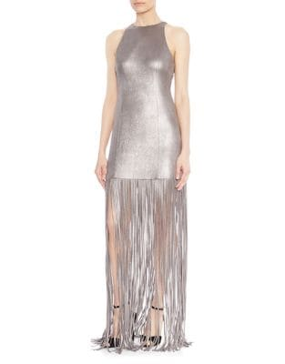 Metallic Fringed Gown by Halston Heritage