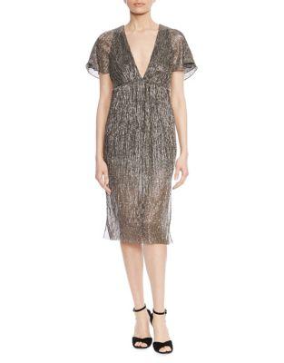 Flounce-Sleeve Metallic Dress 500087716003