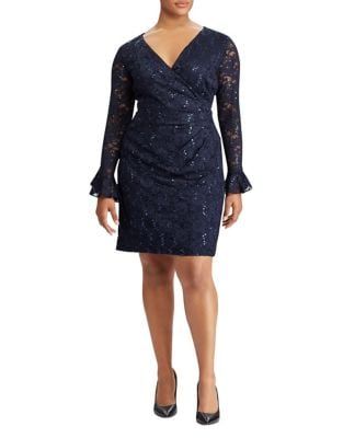 Plus Sequined Lace Dress by Lauren Ralph Lauren