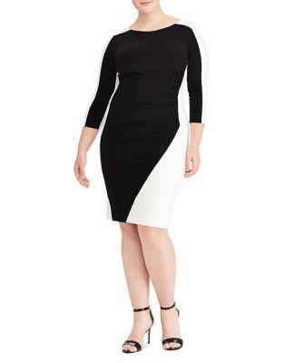 Plus Two-Tone Ruched Jersey Dress by Lauren Ralph Lauren