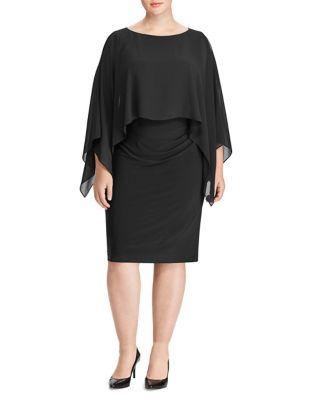 Plus Crepe Overlay Dress by Lauren Ralph Lauren