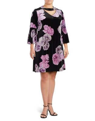 Plus Velvet Choker Dress by Gabby Skye
