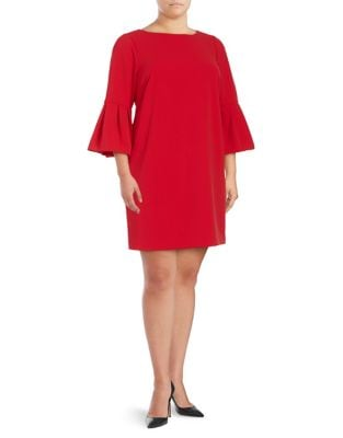 Plus Three-Quarter Bell Sleeve Sheath Dress by Eliza J