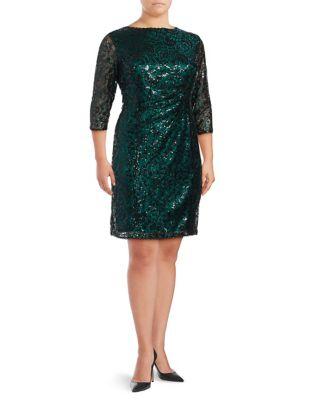 Plus Three-Quarter Sleeve Sequin Cocktail Dress by Tahari Arthur S. Levine