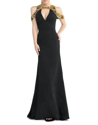 Sequined Cold-Shoulder Gown by Mac Duggal