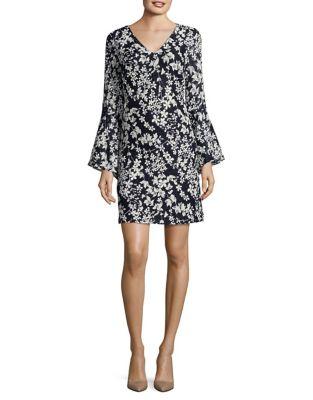 V-Neck Bell Sleeve Dress by Karl Lagerfeld Paris