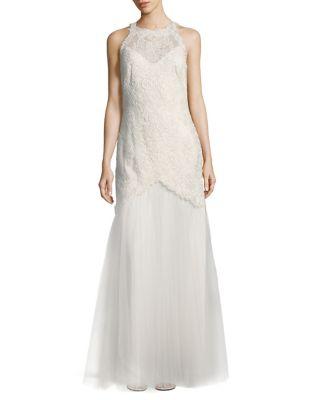 Laced Halterneck Floor-Length Gown by Tadashi Shoji