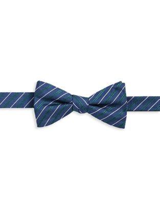 Pinstripe Pre-Tied Silk...