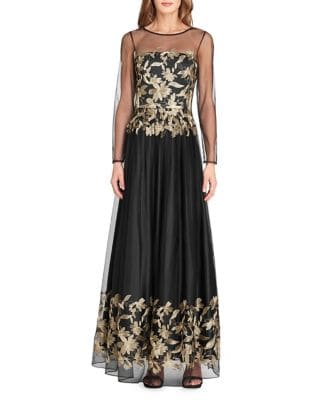Embroidered Floor-Length Gown by Tahari Arthur S. Levine
