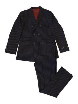 Little Boys TwoPiece Pinstripe Suit Jacket and Pants Set