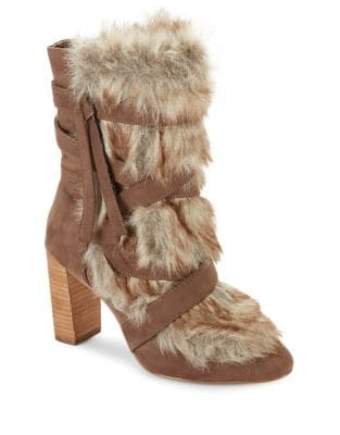 Alberta Faux Fur-Trimmed Booties by Charles by Charles David