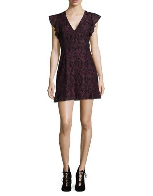 Lace Ruffle-Sleeve A-Line Dress by BCBGeneration