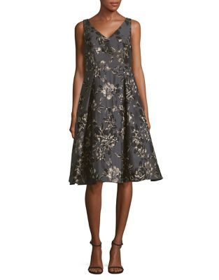 Floral Jacquard Fit-&-Flare Dress by Adrianna Papell