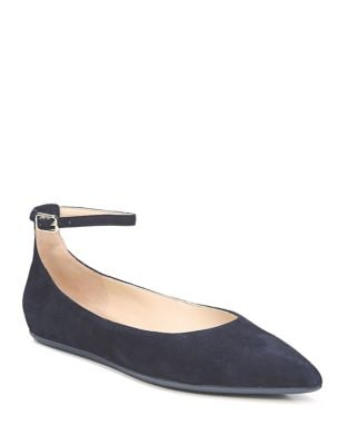 Alex Suede Ankle-Strap Ballet Flats by Franco Sarto