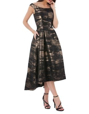 Brocade Off-The-Shoulder Hi-Lo Dress by Carmen Marc Valvo