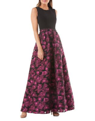 Embellished Crepe and Brocade Floor-Length Gown by Carmen Marc Valvo