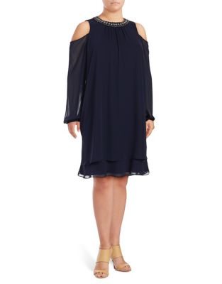 Plus Bejeweled Cold-Shoulder Dress by Xscape