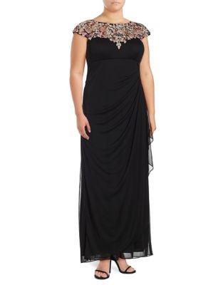 Plus Floral Empire Gown by Xscape