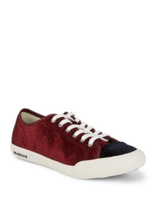 Army Velvet Low-Top Sneakers by Seavees
