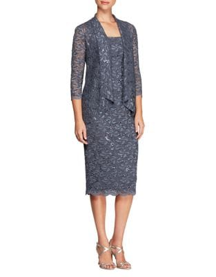 Two-Piece Floral and Sequined Cardigan and Midi Dress by Alex Evenings
