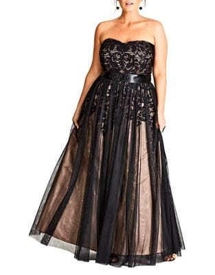 Plus Embroidered Tulle Maxi Dress by City Chic