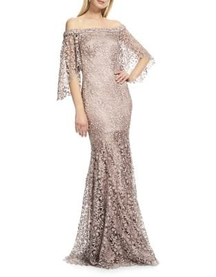 Lace Off-The-Shoulder Gown by Theia
