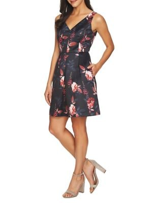 Rose Pleated Fit-&-Flare Dress by Cynthia Steffe