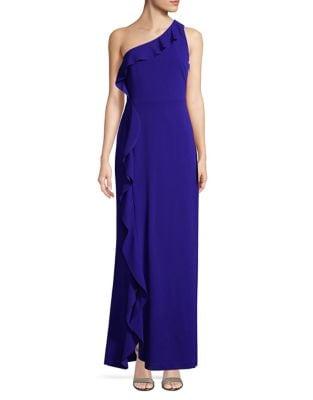 Ruffle One-Shoulder Gown by Calvin Klein