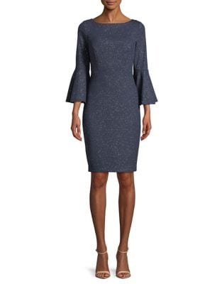 Glitter Bell-Sleeve Sheath Dress by Vince Camuto