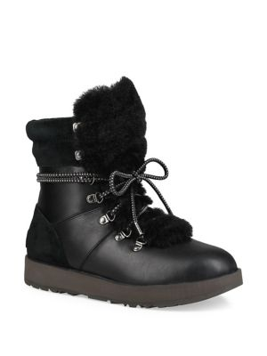 Viki Waterpoof Leather and Sheepskin Lace-Up Boots by UGG