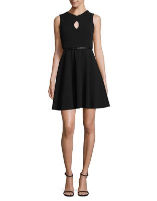 Petite Keyhole V-Neck Fit-&-Flare Dress by Calvin Klein