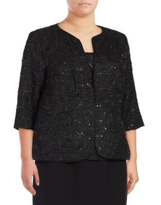 Plus Sequin Jacket and Blouse Set by Alex Evenings