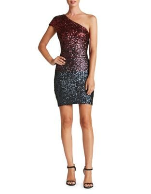Debbie Two-Toned Sequined One-Shoulder Dress by Dress The Population