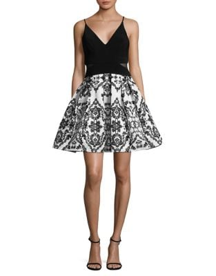 Printed Mini Fit-&-Flare Dress by Xscape