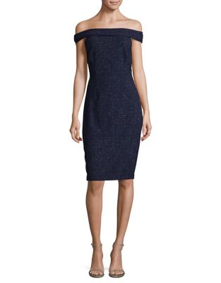 Off-the-Shoulder Speckle Sheath Dress by Eliza J
