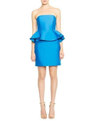Strapless Cotton and Silk Mini Dress by Halston Heritage