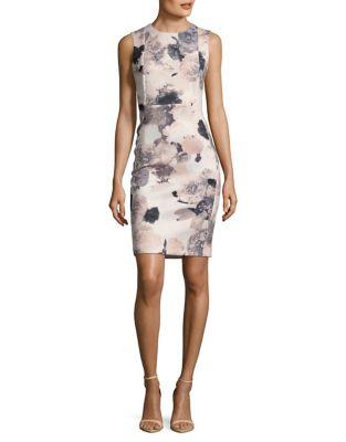Floral-Print Sheath Dress by Calvin Klein