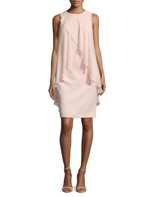 Ruffled Overlay Sheath Dress by Adrianna Papell