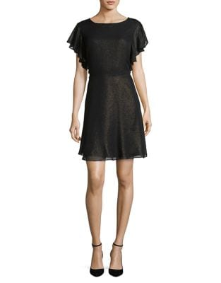 Flounce Back Fit-and-Flare Dress by H Halston