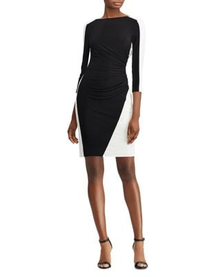 Two-Tone Ruched Jersey Bodycon Dress by Lauren Ralph Lauren
