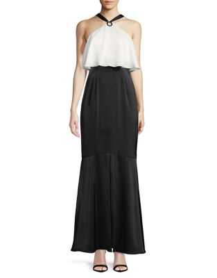 Charmeuse Long Halter Dress by Aidan Aidan Mattox
