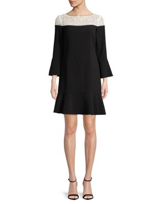 Peplum Bell-Sleeve Dress by Karl Lagerfeld Paris