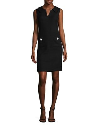 Tweed V Collar Sheath Dress by Karl Lagerfeld Paris