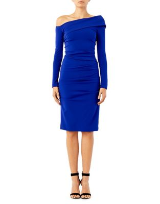 Structured Heavy Jersey Off-The-Shoulder Dress by Nicole Miller New York