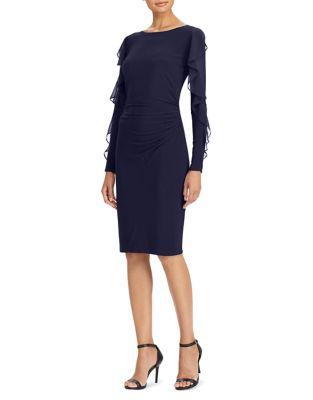 Ruffled Georgette Jersey Sheath Dress by Lauren Ralph Lauren